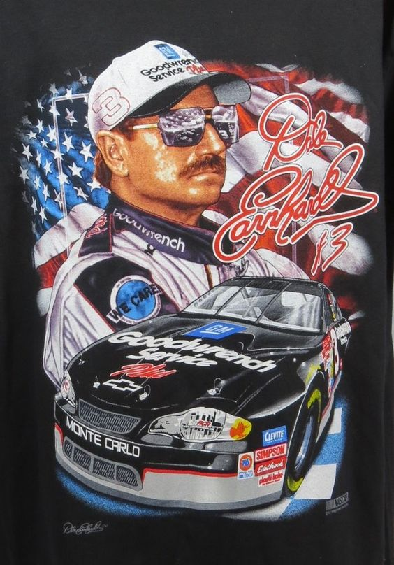 Dale Earnhardt 3 Nascar Race Car Driver Black T Shirt Xl