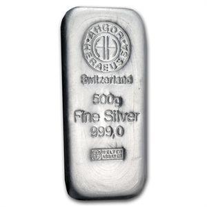 500 Gram Argor-Heraeus Silver Bar (1/2 kilo, Switzerland)