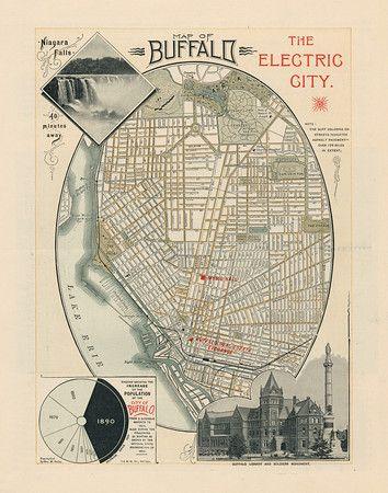 Vintage map of buffalo ny from 1890 looks great hanging for The family room buffalo ny