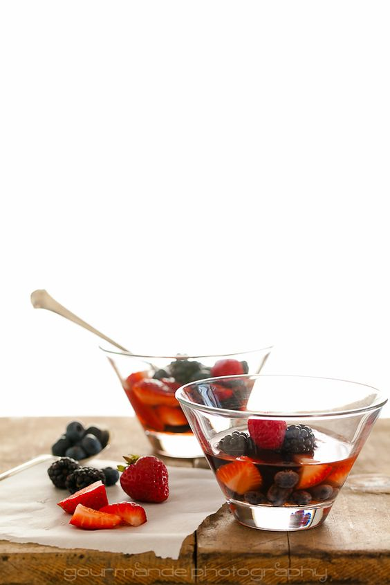Mixed Berries in Rosé Wine with Honey Mascarpone a Summery Fruit Soup: