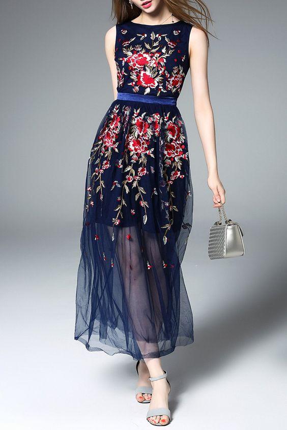 Floral bordado Tulle Vestido:
