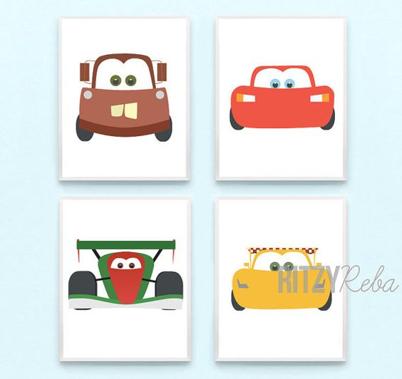 Car Nursery Wall Decor : Disney cars wall art nursery boys decor set of