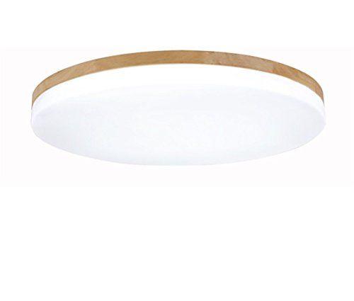 Deckenleuchte Holz Wohnzimmer Lampe Rund Flach Wohnzimmerlampe