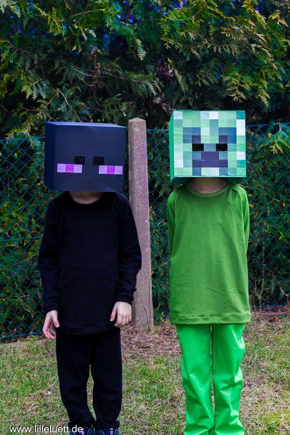 Faschingskostüme. Enderman und Creeper.  #jonte #lolletroll #nähen #nähenmachtglücklich #lilleluett #nähenfürjungs #fasching #kostüme #minecraft #creeper #enderman #fanart