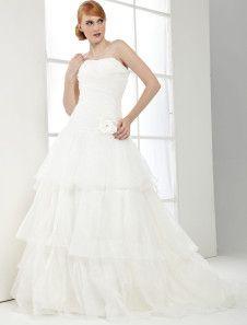 White Strapless Organza Train A-line Wedding Gown