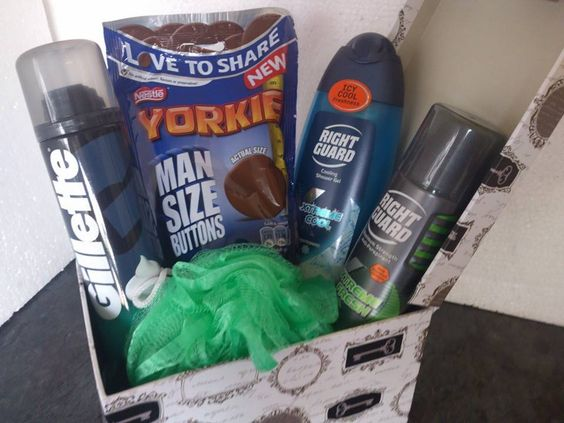 Fathers day/ birthday gift box  Contains Gillette shaving foam, Right guard shower gel, Right guard Anti antiperspirant, A shower scrunchie, Yorkie man size buttons all in a Decorative gift box  Including gift wrapping and P&P £15.00 Dazzlingcraftycreations.co.uk