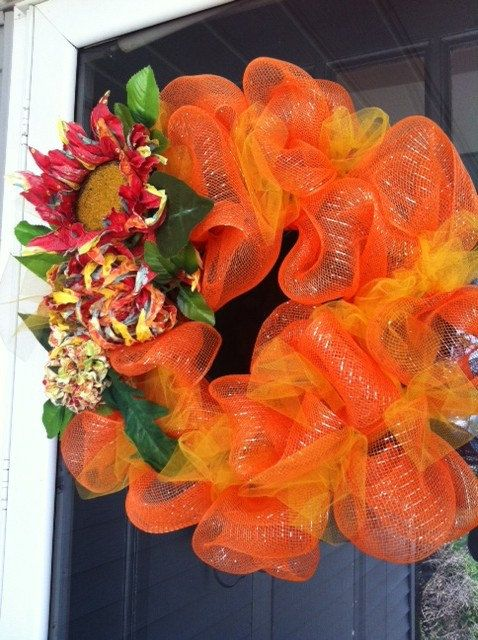 Fall Deco Mesh Wreath with flower accents, beautiful bright colors!