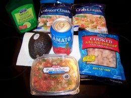 Lime juice, crab, lobster, shrimp, Pico de Gallo, avocado, Clamato juice and more go into this recipe