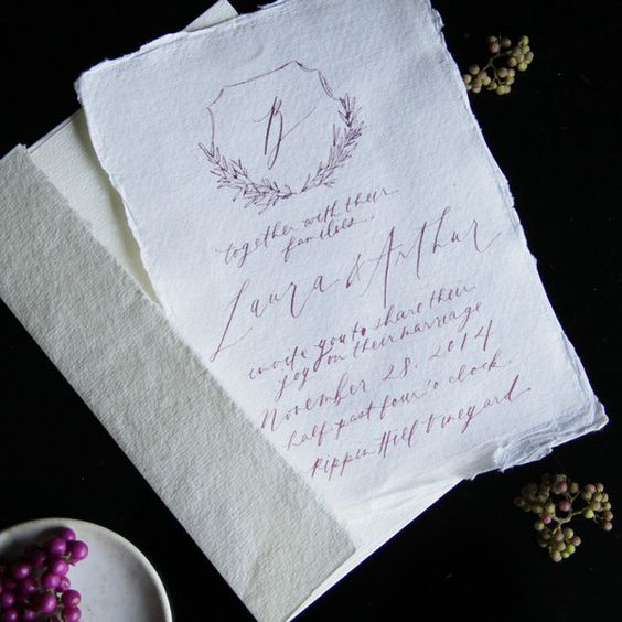 wedding calligraphy and style on pinterest With rag paper wedding invitations