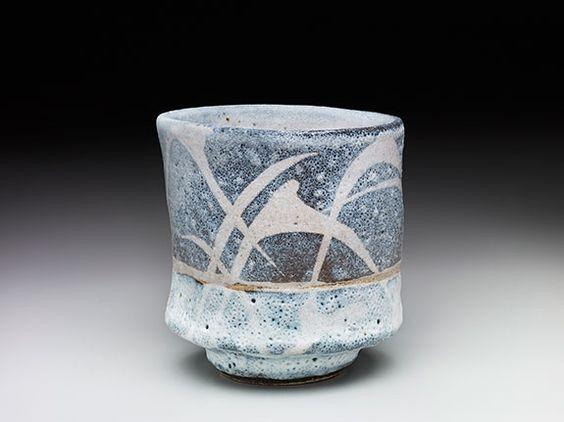 "Randy Johnston, RJ459, Yunomi, nuka glaze over iron slip with brush decoration, Stoneware, 4 x 3.75 x 3.75"""