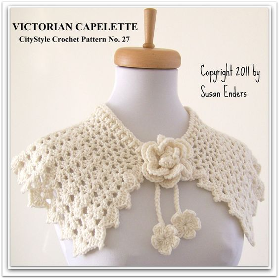 Crochet Pattern Victorian Capelette with Rose and by CityStyle