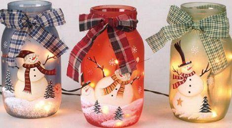 centro de mesa para navidad con tarros decorados: