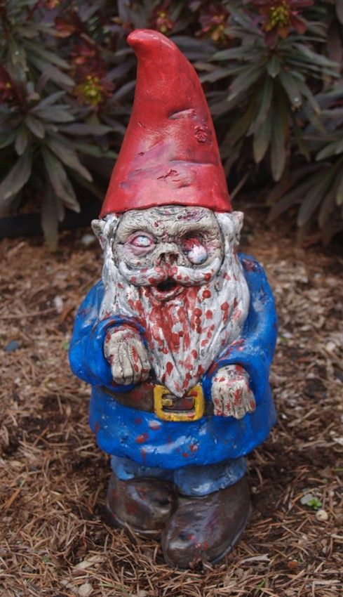 """Be the envy of your neighborhood.   Zombie Garden Gnome, """"Walking Dead"""""""
