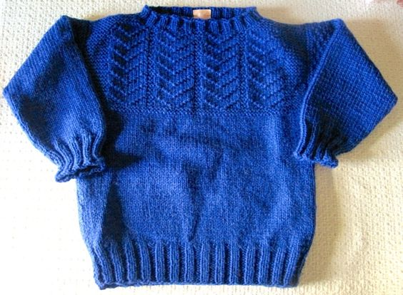 Hand Knit Child's Sweater, Little Boy Sweater, Pullover Size 4 ...