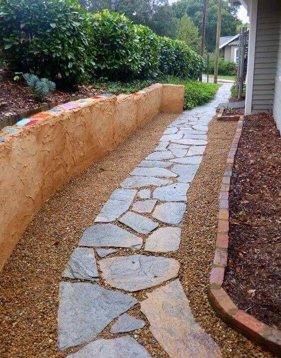 33 Flagstone And Gravel Walkway Ideas Backyard Walkway Garden Walkway Walkway Landscaping