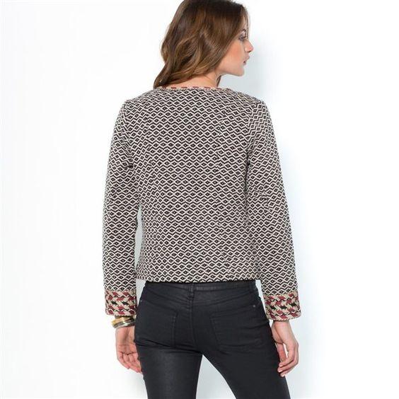 Veste zippée jacquard bicolore pur coton SOFT GREY