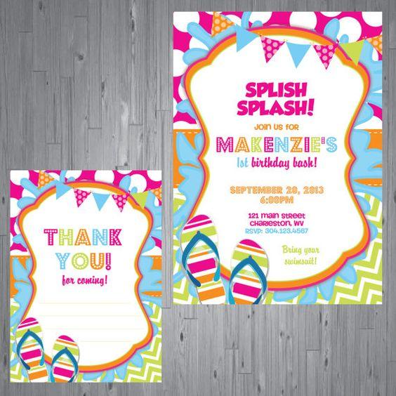 splash party Birthday Invitation first birthday by AbbyReeseDesign - birthday invitation pool party