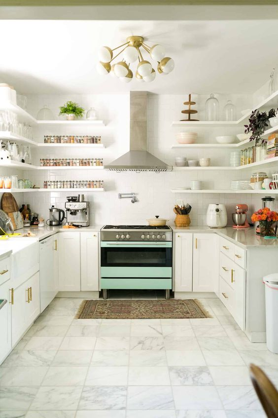 Cool Blue White Kitchen Cabinet