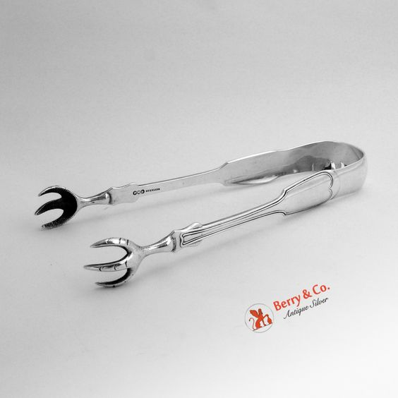 Fiddle Thread Large Sugar Tongs Polhamus Strong Tiffany Sterling Silver 1860 SFC