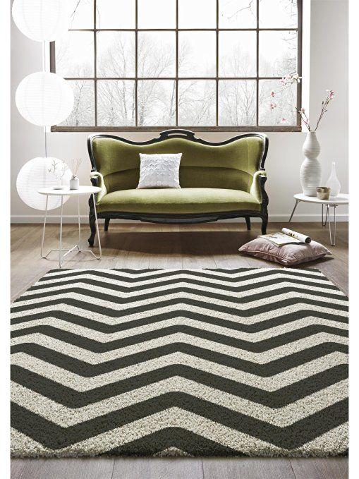 benuta Teppiche: Moderner Designer Hochflor Teppich Graphic Zick Zack Schwarz/Weiß 80x150 cm - GuT-Siegel - 100% Polypropylen - Chevron / Zickzack - Maschinengewebt - Wohnzimmer: Amazon.de: Küche & Haushalt