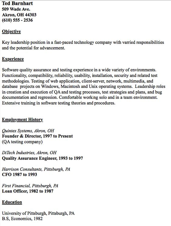 Example Of QA Test Engineer Resume - http\/\/resumesdesign - qa engineer resume