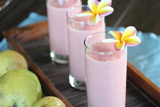 Tropical Guava Pineapple Banana Smoothie  |  Jeanette's Healthy Living  |  V