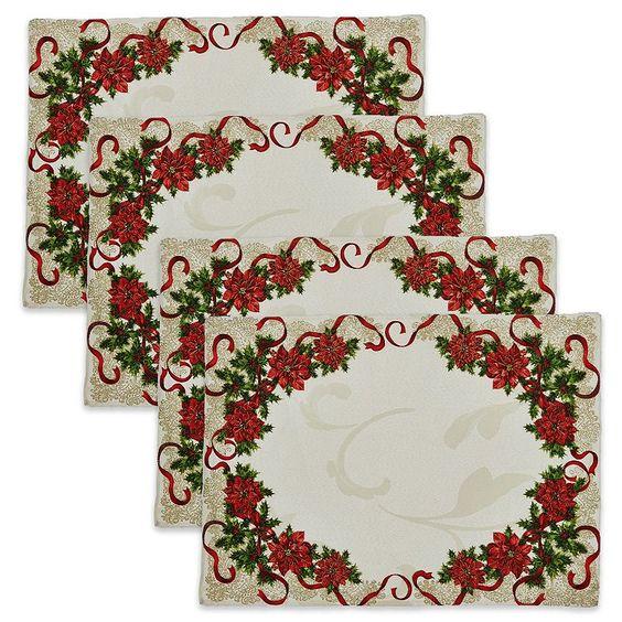 St. Nicholas Square® Poinsettia Border Placemat 4-pk., White