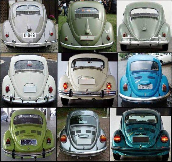 Evolução da traseira do Volkswagen Fusca.