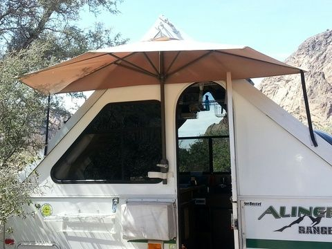 "Homemade ""Half Umbrella"" awning for Aliner 