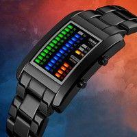 New Luxury Men's Black Tungsten Steel Date Analog Digital LED Sport Business Wristwatch Waterproof Quartz Watches