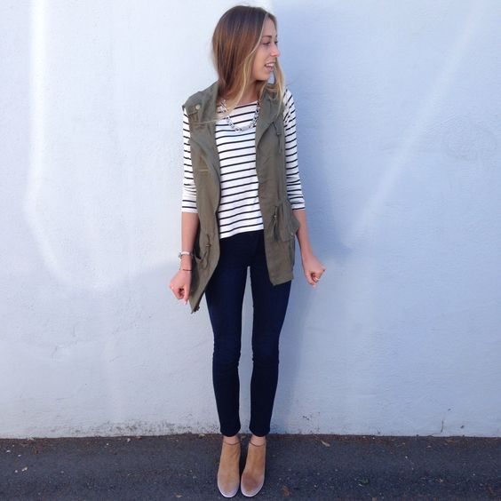 Cute casual outfit. I like the vest and stripes