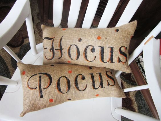 Halloween pillows burlap pillow decorative by 112FarmhouseLayne, $36.00 Can do this yourself with stamps or fabric ink and burlap pillows, super cute!