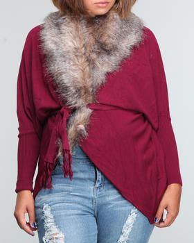 Maroon Baby Phat Faux Fox Fur Wrap Cardigan
