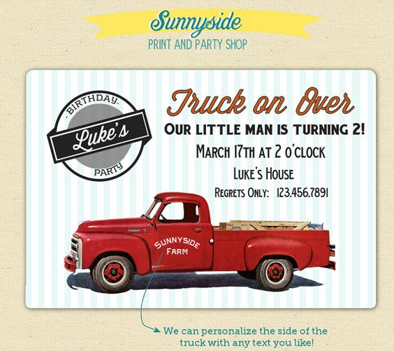 Vintage Pickup Truck Retro Birthday Invitation - Printable or Printed Set