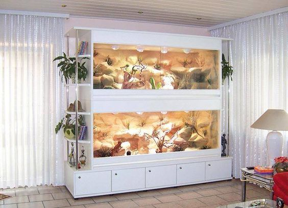 ENCLOSURES Gorgeous! Very functional. This with a removable middle shelf to convert from two homes into one as needed would be my ideal.