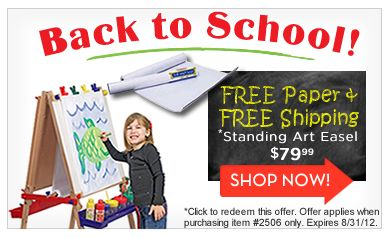 Back to School Savings for You! Free Paper with Our Art Easel and Free Shipping too!
