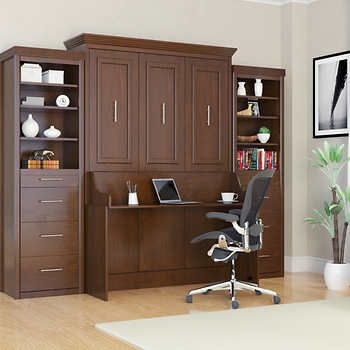 Bed & Room Porter Full Portrait Wall Bed with Desk and Two Side Towers in Walnut