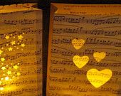 Love Song Luminary, Vintage Sheet Music, Music Valentine, Heart Cutouts, Beautiful Lyrics, Valentines Day Decoration. $10.00, via Etsy.