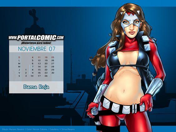 Wallpapers/Calendarios coloreados por mi, sobre dibujos de Mariano Navarro, para el sitio web especializado PortalComic ( ) En cada uno hacemos nuestra versión femenina de un personaje masculi...