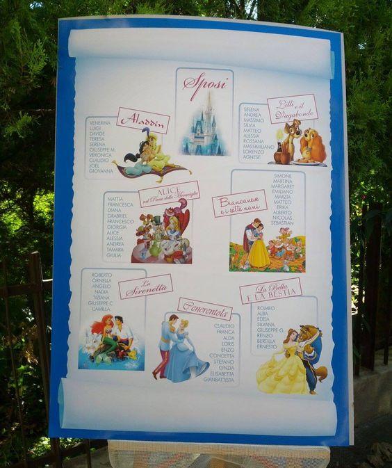 Matrimonio Tema Walt Disney : Tableau de mariage a tema favole disney