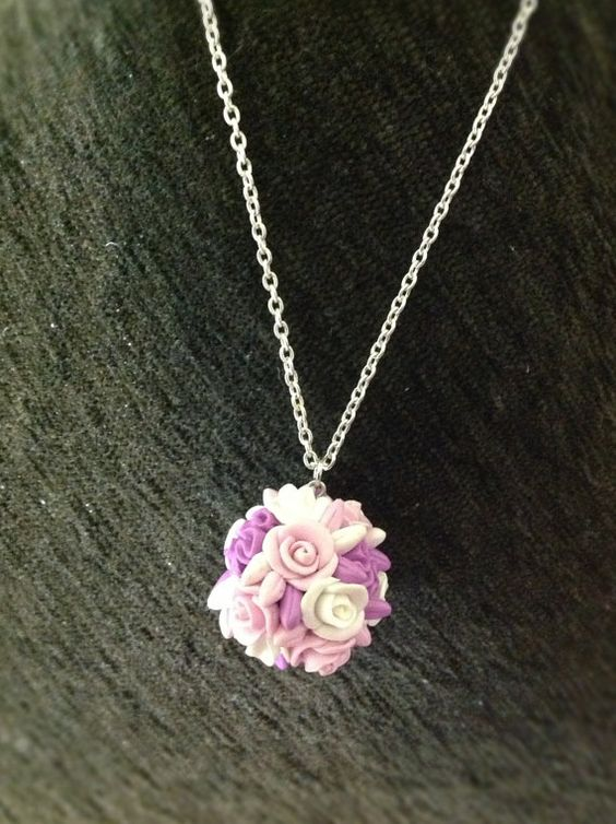 Rose Charm Necklace with chain Flowers Pink White by AlexaGreg, $18.00