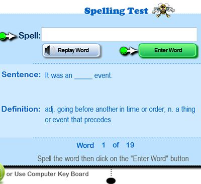 Free online spelling lessons, tests and printable spelling word ...