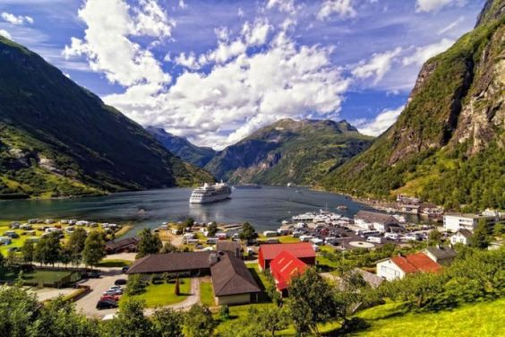 Ship in fjord, Norway