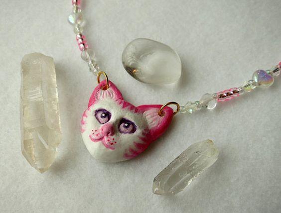 Jewelry design: Handmade clay cat necklace.