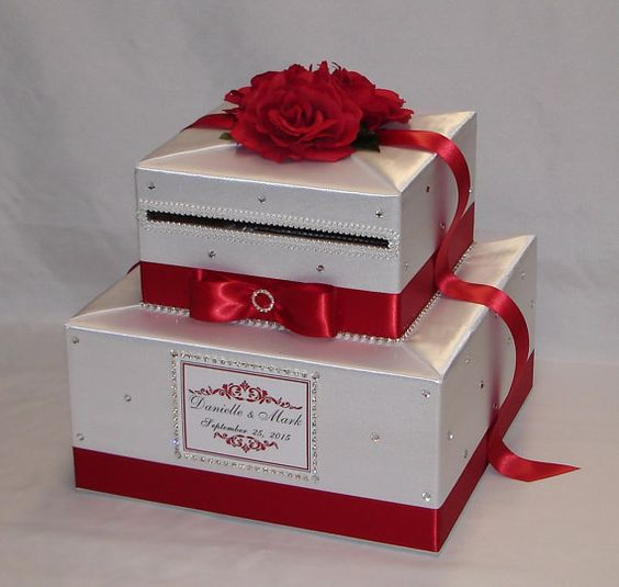 Red and White Wedding Card Box Red RosesRhinestone accents – Red Wedding Card Box