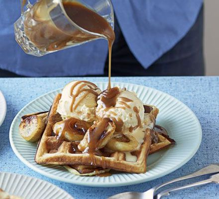 Smother fluffy waffles with fried bananas, vanilla ice cream and caramel sauce for an indulgent dessert or brunch time treat