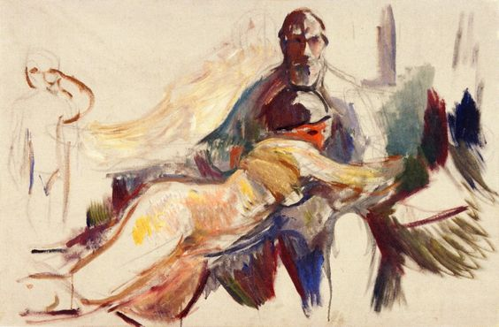 Old Man with Naked Woman on His Lap by Edvard Munch