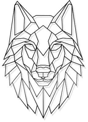 Souq | Laser Cut Metal Geometric Wolf Stare Wall Art Black | UAE