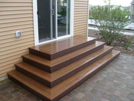 Trex steps trex steps on paver patio garden ideas for How to build box steps for a deck