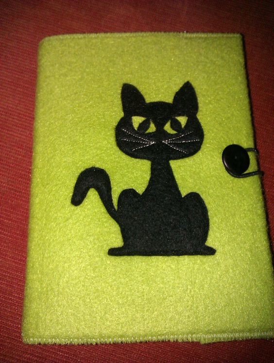 A6 Green witchey cat felt notebook and cover